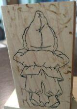 Winter boy tiptoed peeking, back, art impressions,169,rubber, wood