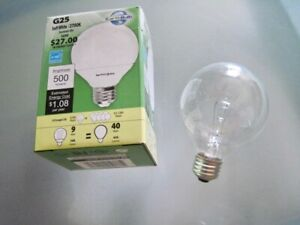 Earth Bulb Compact Fluorescent Globe Clear Light Bulb 9w/40w