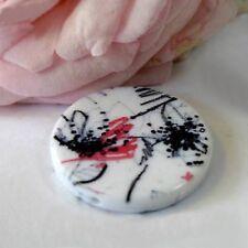 2 Perles Résine Palets Blanc/noir/rouge  - 32 mm
