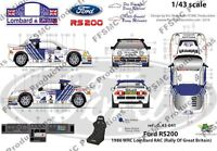 [FFSMC Productions] Decals 1/43 Ford RS 200 RAC 1986