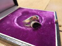 Toller 925 Sterling Silber Ring Schwarz Email Emaille tolles Design Retro 70er