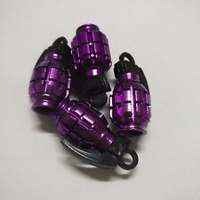 4 x Purple Grenade Bomb Exterior Wheel Tyre Tire Valve Stems Air Dust Cover Caps