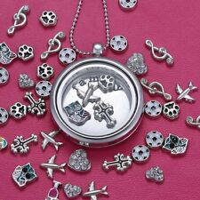 Personalized Silver Floating Charm Locket Living Memory Necklace Gift Chain