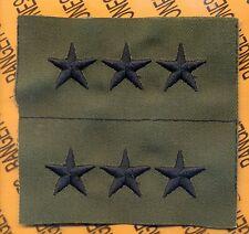 US ARMY Lieutenant General LTG 0-9 OD Green & Black rank patch set