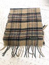 MOON Brown Wool Tartan Scarf Winter Autumn Mens Unisex (flawed)