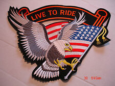 """LIVE TO RIDE EAGLE & FLAG, SILVER, X-LARGE PATCH APPROXIMATELY 14""""x 10"""", NWOT"""
