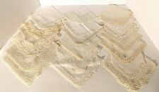 Vtg. White/ Ecru Linen Hankies Handkerchiefs with Crocheted Lace Edges Lot of 20