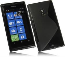 Nokia Lumia 800 S Design Schutzhülle Silikon Case Handytasche Schwarz Cover