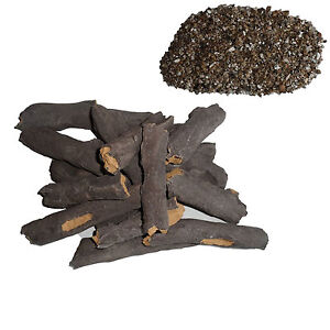 REPLACEMENT Gas Fire Ceramic ARTIFICIAL Wood Logs Fake set 8/16 FREE VERMICULITE