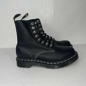 New Dr. Martens 1460 Pascal HDW Combat Boots Black Virginia Leather Womens Sz 5