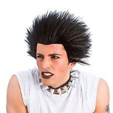 *Mens Black Punk Rock 1980s 80s 70s 1970s Rocker Fancy Dress Costume Spiky Wig*