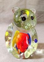 Vintage Heavy PANDA Bear Figurine Art Glass Murano Style Paperweight