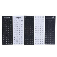 English Keyboard Replacement Stickers White on Black Any PC Computer Laptop PX