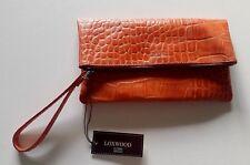 Loxwood pochette zippee pliable en Cuir Véritable croco print coloris Mandarine