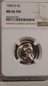 1940-D Jefferson Nickel Certified NGC MS-66 - 5 Full Steps - Sharp !