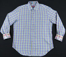 AUTHENTIC ROBERT GRAHAM SCOOTER MOPED FLIP CUFF PLAID EMBROIDERED SHIRT MENS XL