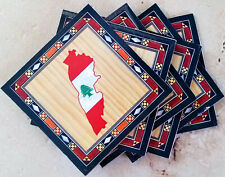 Particle Board Faux Inlaid Wood Coasters Set of 6 Greater Lebanon Flag / Map