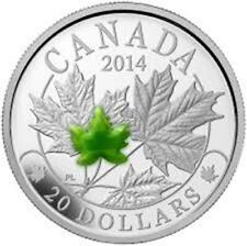 2014 Canada $20 Fine Silver Coin Majestic Maple Leaves with Jade