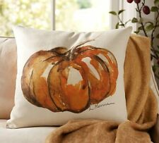 "POTTERY BARN PAINTED LARGE PUMPKIN PATCH  20"" SQUARE PILLOW COVER  NEW"