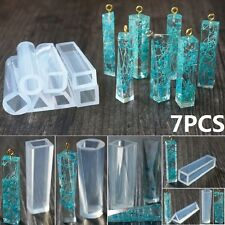 7Pcs DIY Silicone Gem Beads Pendant Moulds Mold Resin Making Tool Jewelry Shapes