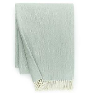 "Sferra Celine Throw Blanket Slate Blue Cotton Herringbone Twisted Fringe 51x71"""