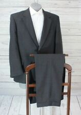 ENGLISH MANOR Men's Charcoal Gray Glen Plaid 2 Piece Suit 44R Pleated Fronts