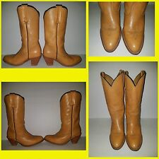 WOMEN'S VTG FRYE TAN BROWN  STACKED HEEL DRESS COWBOY WESTERN BOOTS SIZE 8 1/2 B