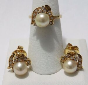 Vintage Pearls Set In 14K yellow Gold Earrings w pearl ring diamonds size 6.25