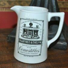 "Crabtree & Evelyn Ceramic Comestibles Beige Creamer Black Logo 4.5"" Tall"