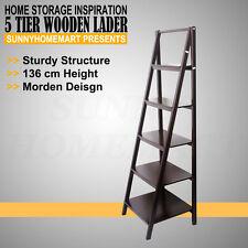 136CM Brown 5 Tier Wooden Utility Ladder Shelf Bathroom Storage Towel Rack MEL