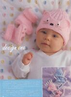 BABY  reborn knitting pattern  prem / 3m or animal  hat and paw  booties 4 ply