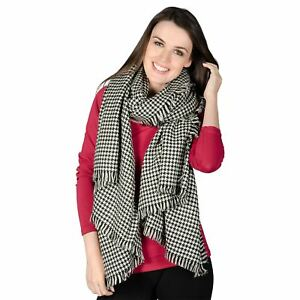 Ladies Cologne Woven Scarf Black & White Dogtooth Womens Fashion Stole Shawl