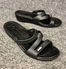 160233b78 Women s Crocs Patricia Slides Wedge Black Rubber Sandals Shoes Sz 11 In EUC