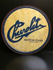 Historic Chevrolet Logo  Round TIN SIGN  Garage Vtg Antique Car Wall Decor