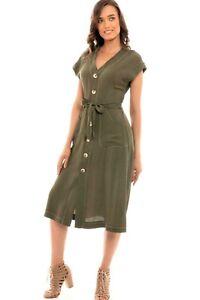 Ladies Button-Down Robe Dress with Pockets & Contrast Stitch Khaki NEW Sizes 6-8