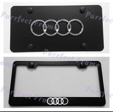 Audi Logo Stainless Black Front License Plate & Frame Combo Rust Free