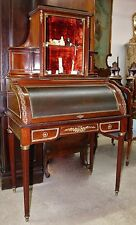 Antique French Napoleon Iii Roll-top Secretary Desk C1860 Brass Inlaid leather