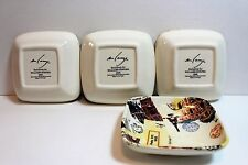 WILLIAM SONOMA appetizer plates World Traveler set of 4 by M Lange NEW MINT!