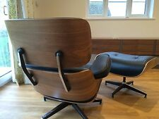 Plywood Lounge Chair and Ottoman WALNUT 100% Genuine TOP GRAIN Italian Leather