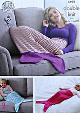 Knitting pattern baby femmes easy knit sirène queue de poisson couverture dk kingcole 4692