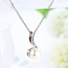 Classic 18K White Gold Filled Cubic Zirconia Crystal Pearl Pendant Chain Necklac