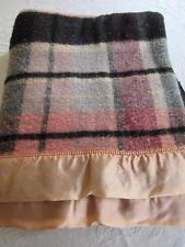 "RETRO Vtg 1960s Montgomery Ward PINK Gray & Black PLAID Wool Blanket 72x88"""