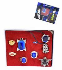 Anime Black Butler Cosplay Ciel Sapphire Ring Badge Necklace Ear Nail New Toy