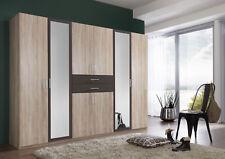 SlumberHaus Diver Large 6 Door Oak Charcoal and Mirror Bedroom Wardrobe Fitment
