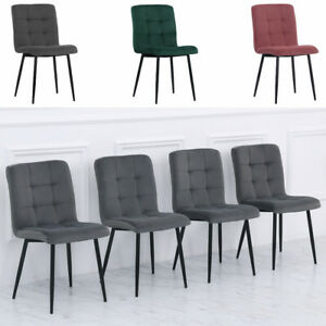 Set of 4 Velvet Kitchen Dining Chairs Cube Shape Stitched Padded Seat Metal Legs