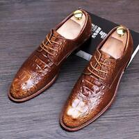 Business Mens Crocodile Leather Lace Up Dress Wedding Formal Oxfords Shoes Club