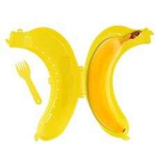 Contenedor de plátano de plástico amarillo brillante con horquilla para Caja de Almuerzo Bolsa Escolar Trabajo