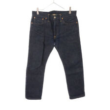 RRL (Double Earl) Button Fly Straight Denim Pants Navy 100% cotton used