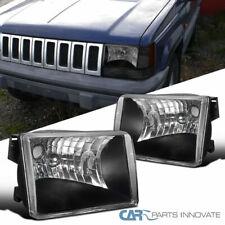 Jeep 93-98 Grand Cherokee SUV Black Headlights Head Lights Lamps Left+Right