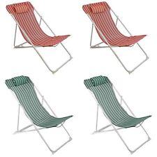 Metal Garden Deckchair Folding Adjustable Reclining, Red / Green Stripe - x4